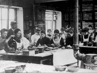Women working inside a mosaic room at Craven Dunnill Tile Works, Jackfield, 1900 - 1905