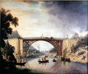 Oil Painting depicting The Cast Iron Bridge near Coalbrookdale, by William Williams, 1780.