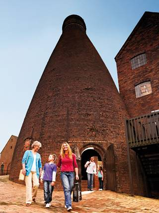 Coalport China Museum  Family in front of Bottle Kiln