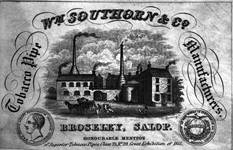 A copy of a letterhead showing William Southorn and Co. tobacco pipeworks, Broseley, 1851.