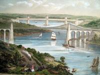 Coloured lithograph depicting the Menai Suspension Bridge and Britannia Tubular Bridges.