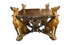 Coalbrookdale cast iron Deerhound Hall Table, mid-19th century.