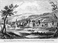 Copy of a print from an original painting by Muss, showing Coalport China Works.