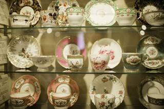 Coalport China Museum.  A collection of Coalport Cups and Saucers