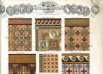A design plate from a Maw and Co tile catalogue, showing mosaic tile arrangements.