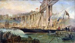 Oil painting depicting the opening of the Saltash Bridge by H.R.H Prince Albert, 2 May 1859.