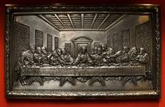 Cast iron bas-relief plaque depicting The Last Supper, manufactured from the 1840s until the 20 Century.